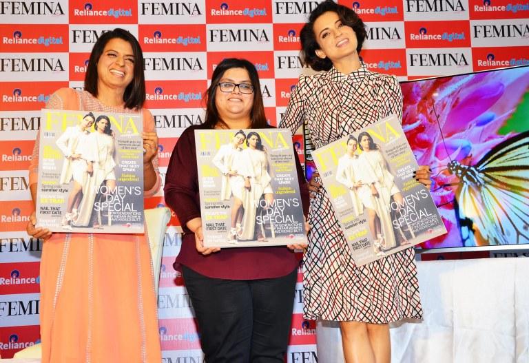 Rangoli, Tanya Chaitanya (Editor, FEMINA) & Kangana Ranaut unveiled FEMINA'S Women's Day Special issue at Reliance Digital Store, Juhu.