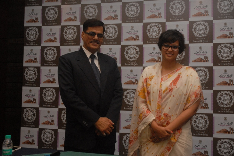 Mr. Om Vijay Choudhary, Executive Director, Madhya Pradesh Tourism along with Ms. Tanvi Sundriyal, AMD, Madhya Pradesh Tourism at the press conference to announce MP Road Show - 2.JPG