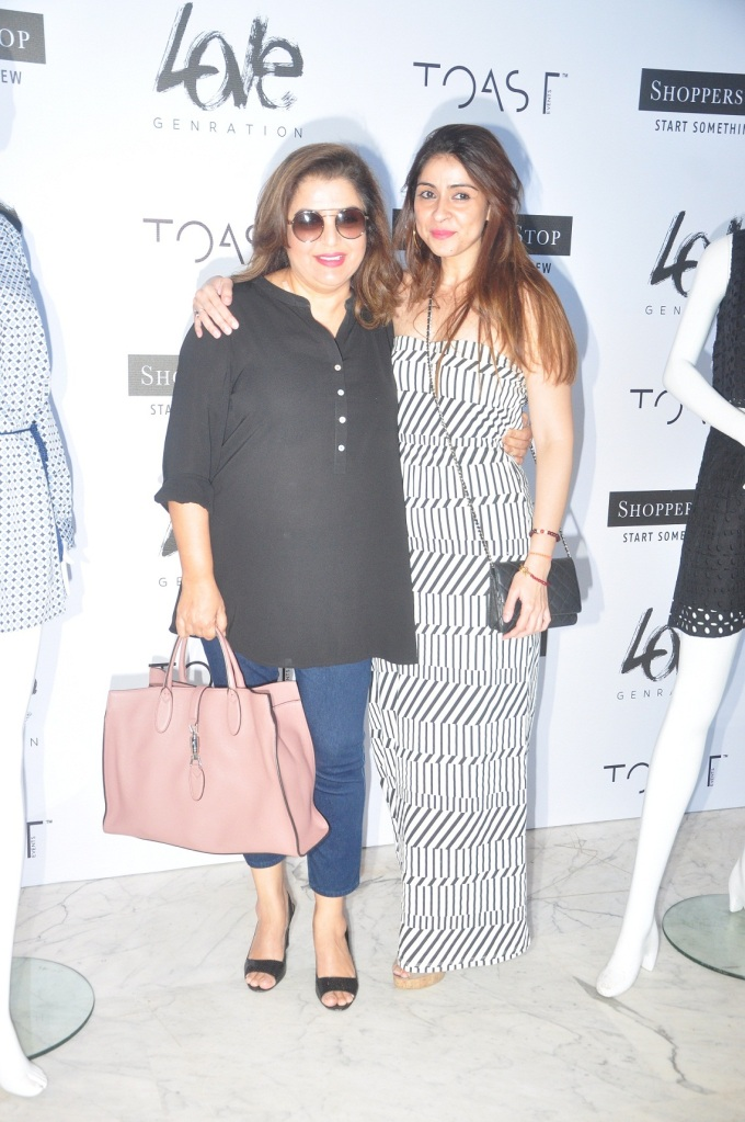 Farah Khan with Bhavana Pandey at the launch of Love Genration at Shoppers Stop