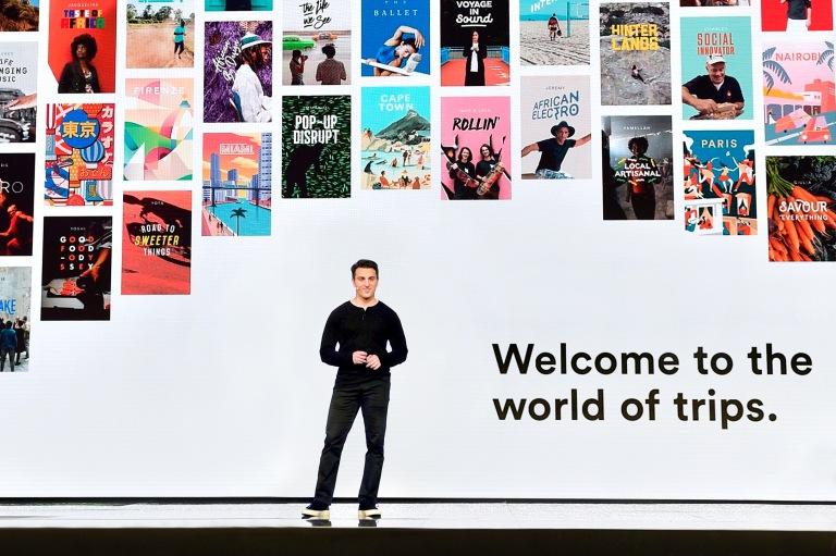 """LOS ANGELES, CA - NOVEMBER 17: Airbnb Founder & CEO Brian Chesky speaks onstage during """"Introducing Trips"""" Reveal at Airbnb Open LA on November 17, 2016 in Los Angeles, California. (Photo by Stefanie Keenan/Getty Images for Airbnb)"""