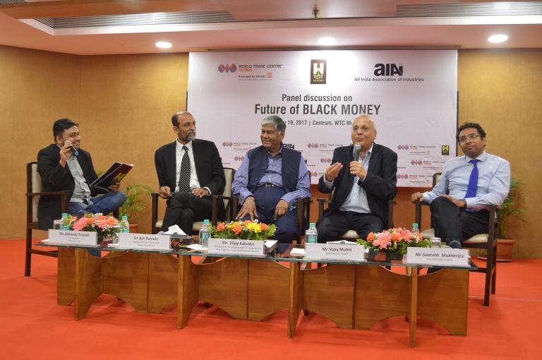 (L-R - Sitting) Mr Abhinav Trivedi, Founder Street Journos; Dr Ajit Ranade, Chief Economist, Aditya Birla Group; Mr Vijay Kalantari, President AIAI; Mr Vijay Mukhi, Cyber Security Expert; Mr Saurabh Mukherjea, CFA, CEO Ambit Capital