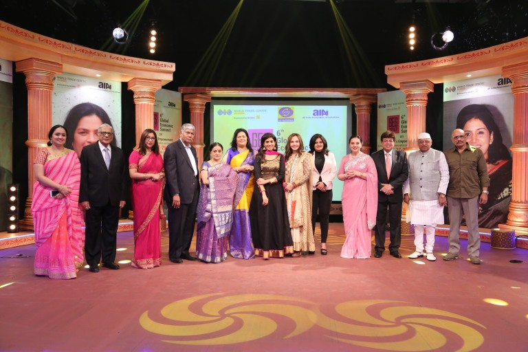 Ms. Sonali Kulkarni, Actress and Mr. Vijay Kalantri, President, All India Association of Industries and Vice Chairman, WTC Mumbai.   From (L-R): Ms. Dolly Awati, Joint Director-Corporate Communication, WTC Mumbai; Mr. Y. R. Warerkar, Executive Director, WTC Mumbai; Ms. Rupa Naik, Director-Projects, WTC Mumbai; Mr. Vijay Kalantri, President, All India Association of Industries and Vice Chairman, WTC Mumbai; Ms. Bhawna Somaya, Historian and film Critic; Ms. Grace Pinto, Managing Director, Ryan International Group of Institutions; Ms. Sonali Kulkarni, Actress, Dr. Jamuna Pai, Cosmetologist and Founder, Blush, Ms. Bala Deshpande, Senior Managing Director, New Enterprise Associates, Ms. Shibani Sharma, Wife of Mr. Mukesh Sharma, Ms. Kiran Shantaram, Former Sheriff of Mumbai, Mr. Bharat Dabholkar, Film Director.