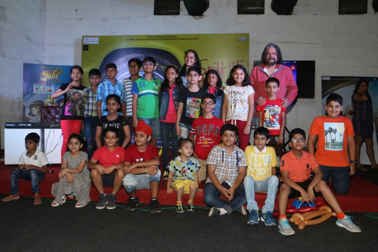 Direcrtor Amole Gupte with Kids at the song launch of the movie Sniff