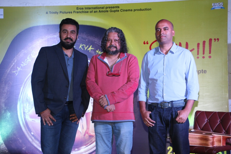 Director Amole Gupte, Raj Kundra and Ajit thakur, Founder CEO at TrinityPictures at the launch of the game for movie Sniff-