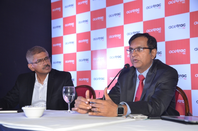 (L-R) MeritTrac Executive VP Mr. Nagendran Sundararajan and CEO Mr. Gopal Devanahalli addressing the press after launch of AceTrac in New Delhi today