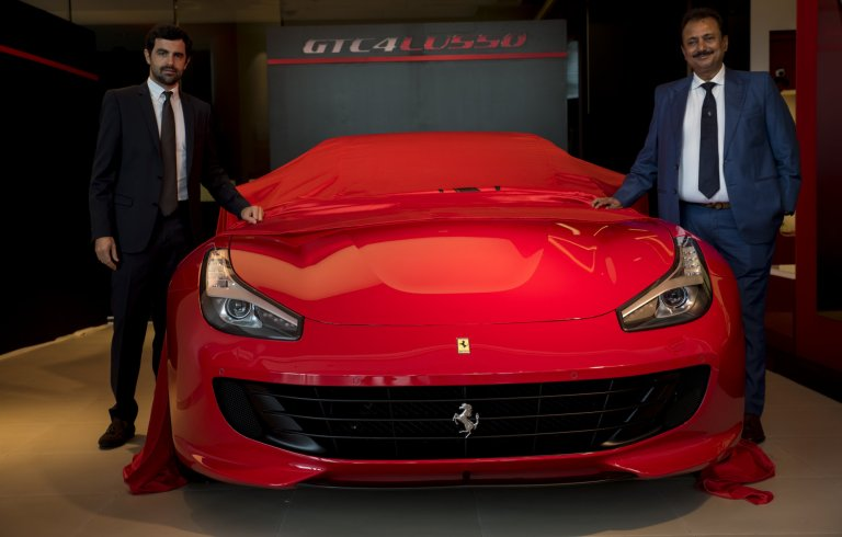 Mr Aurelian Sauvard and Mr Sharad Kachalia with the Ferrari GTC4Lusso