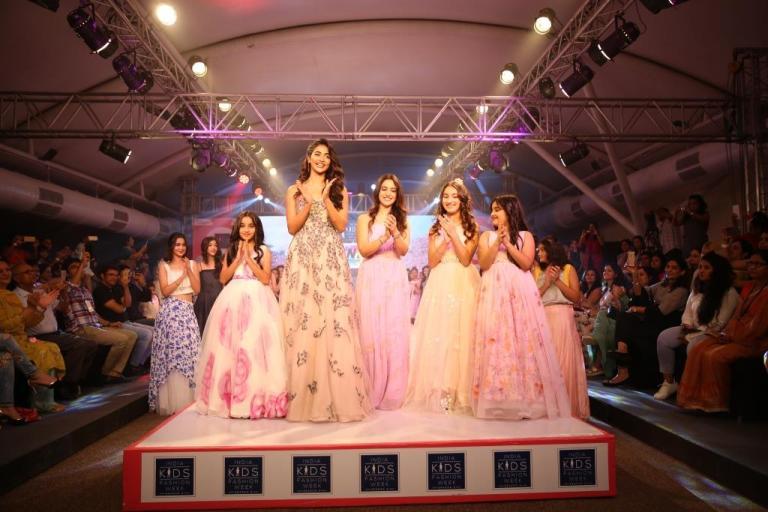 Pooja Hegde walked the ramp at Season 5 of India Kids Fashion Week Mumbai for Nimbus by Mona Desai
