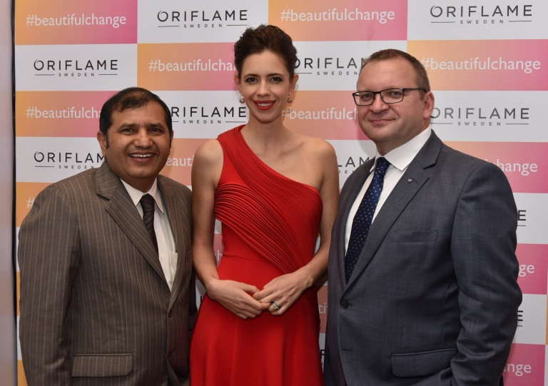 L-R  Mr. Naveen Anand Sr  Director Regional Marketing at Oriflame, Kalki Koechlin (New Brand Ambassador) ,Mr  Sergei Kanashin Head of south Asia & MD India Oriflame.JPG