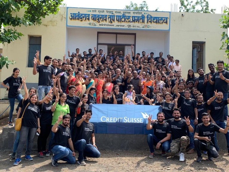 Credit Suisse team at Anandrao B. Tupe Patil Pragati Madhya Uch Vidhyalay on 'Community School Transformation Day'