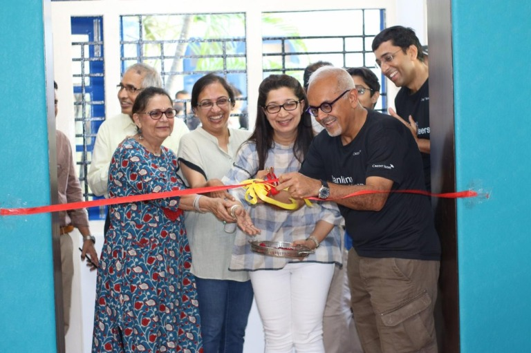 Mickey Doshi, CEO India, Credit Suisse, inaugurating the sports facility, with Archana Chandra, CEO, Jai Vakeel Foundation